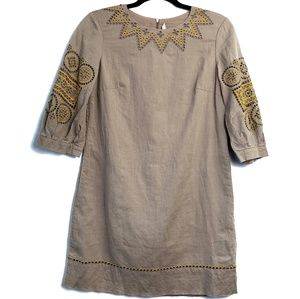 3.1 Linen Cotton Tunic Dress Embroidered